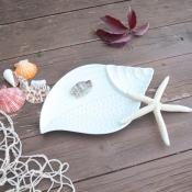 Тарелка Ракушка керамическая белая 25*15см