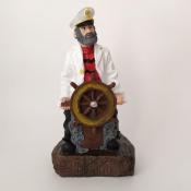 Капитан со штурвалом в белом кителе 20см
