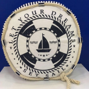 Морская подушка круглая Яхта
