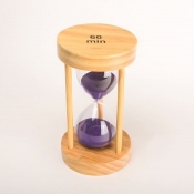 Часы песочные фиолетовые 60 минут круглые