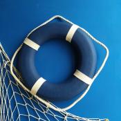Спасательный круг 35см синий с белым канатом