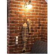 Деревянный скелет рыбы 50см