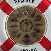 Спасательный круг с часами настенный красный 50см