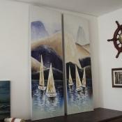 Картина Три парусника в море масло 150*50см