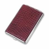 Портсигар, красный цвет с рисунком
