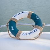 Спасательный круг декоративный бело-синий 45см