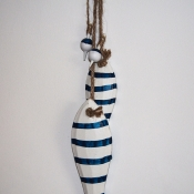 Рыбы декоративные деревянные 2шт бело-синие