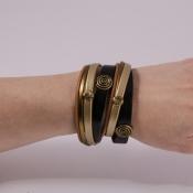 браслет кожаный черно-золотой