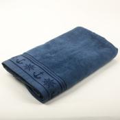 Полотенце Якорь велюр синее 100*160см