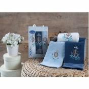 Набор вафельных полотенец для кухни Море (3шт)