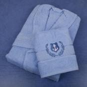 Халат голубой в комплекте с полотенцем