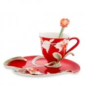 Чайная пара Орхидея на красном (Pavone)