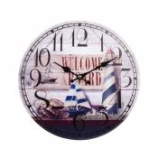 Часы настенные Маяк/корабль синий 34см