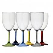 Бокалы винные прозрачные с разноцветными ножками PARTY, 6 шт.
