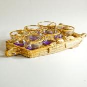 Набор фиолетовых стопок на подносе Тележка