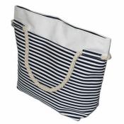 Женская пляжная сумка синяя полоска 48*37см