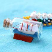 Корабль в стеклянной бутылке 6,5см