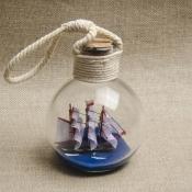 Корабль в бутылке с подвесом 21см