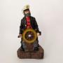 Капитан со штурвалом в черном кителе 20см